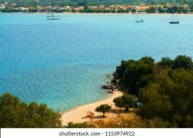 Summer abstract background of tropical beach in Ionian sea, Greece