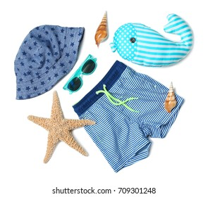 Summer accessories on white background. Holiday concept