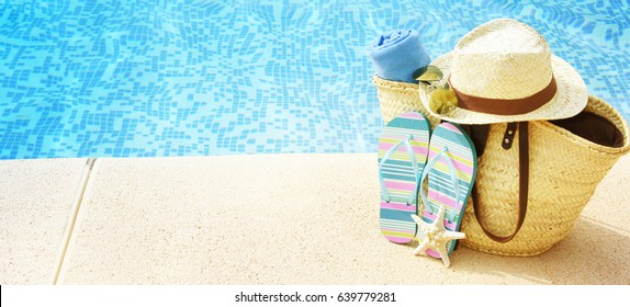 Summer accessories at the swim pool, Travel concept, Vacation time
