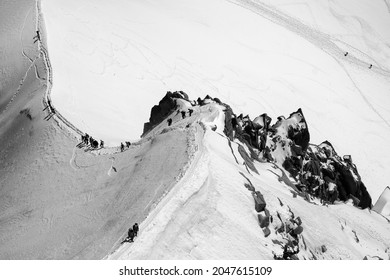 Summer adventure on the Mont Blanc massif , White Valley of Aiguille du Midi , French Alps, Chamonix, Haute Savoie region, France. Black and white image.
