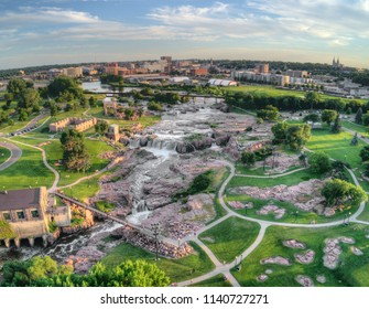 Summer Aerial View of Sioux Falls, The largest City in the State of South Dakota