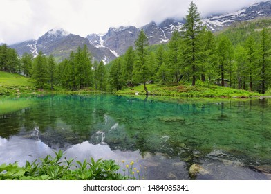 Summer alpine landscape on the Blue Lake (Lago Blu) near Breuil-Cervinia, Aosta Valley, northern Italy