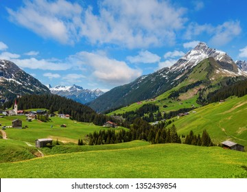 Summer Alps mountain view to Biberkopf mount (Warth, Vorarlberg, Austria).
