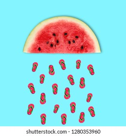 Summer art collage. Rainy Watermelon slippers on blue background.