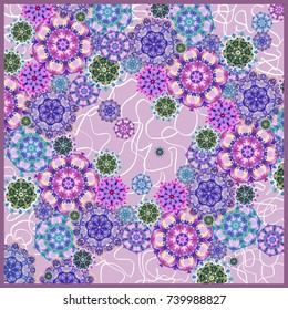 Summer, autumn colors. Silk scarf. Abstract pattern mandala elements.