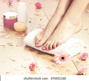 Summer background. Beautiful female legs over spa background.