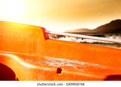 Summer background of boat and sunset time. Free space for your decoration.