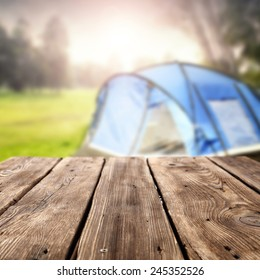 summer background of camping and table