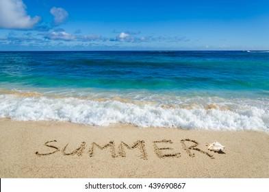 Summer background on the sandy beach