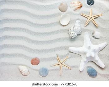 Summer background seashells and starfish border on sand