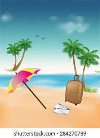Summer background with a suitcase umbrella palm