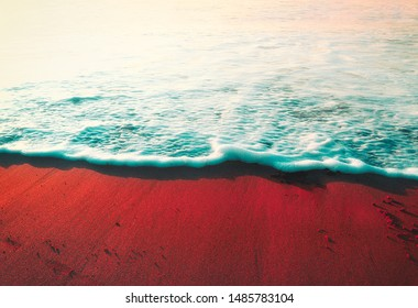 summer background with wave on the shore sand and vintage effect