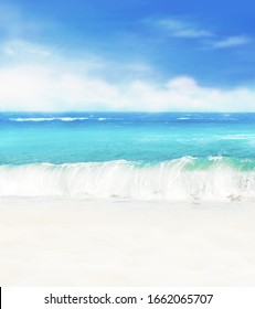 Summer background. White sand beach on a background of blue sea and blue sky.