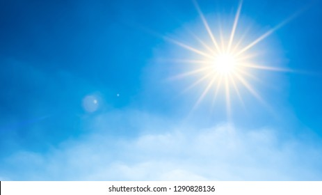 Summer background, wonderful blue sky with bright sun