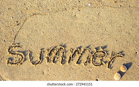 Summer background - word on the beach
