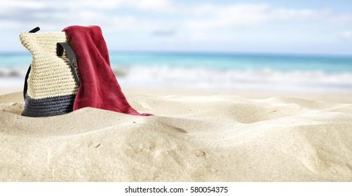 summer bag on sand