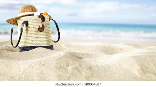 summer bag on sand