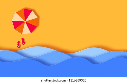 Summer Banner Background, beach with waves and sun umbrella