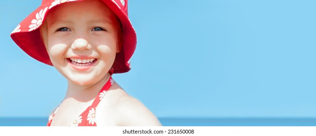 summer banner child girl happy smile sea vacations