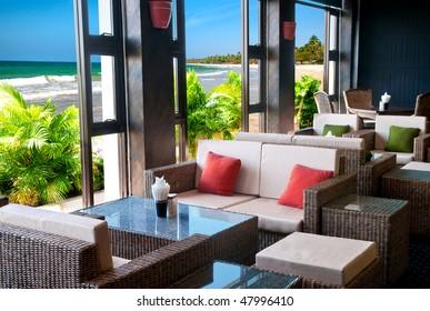 Summer bar lounge at the beach