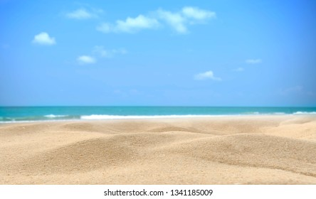Summer beach background. Sand and sea and sky copy space