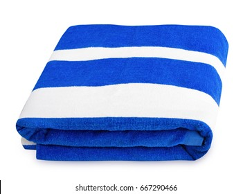 Summer beach blue stripes towel isolated.Folded nautical print cloth.