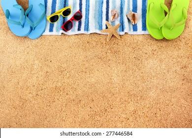 Summer beach border, copy space