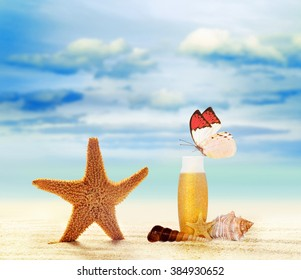Summer beach. Butterfly and starfish