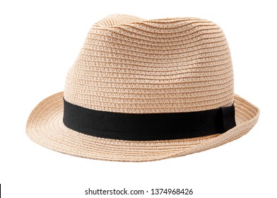 Summer and beach fashion, personal accessories and holiday headwear concept theme with a straw hat or fedora with a black strap or ribbon isolated on white background with a clip path cutout