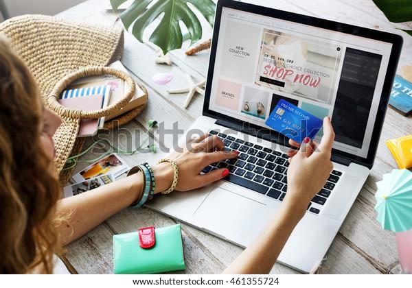Summer Beach Holiday Online Shopping Concept