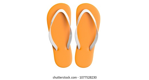 Summer beach holidays. Flip flops isolated cut out on white background, top view. 3d illustration