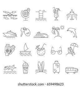 Summer and Beach Icons. Outline vacation web icon set.  Travel  graphic icons set with starfish, sailboat, airplane, cocktail, chaise lounge and other images. Abstract isolated  illustration.