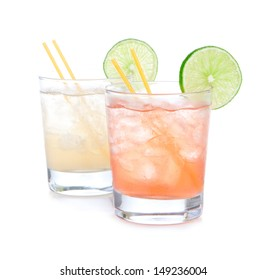 Summer beach margarita cocktails drink in spirit glasses isolated on a white background