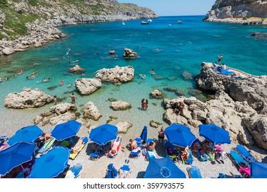 The summer beach, Rhodes Greece