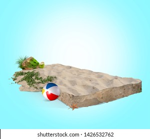 Summer Beach Sand squared isolated in island like graphic for calendar with beach plant and rock png