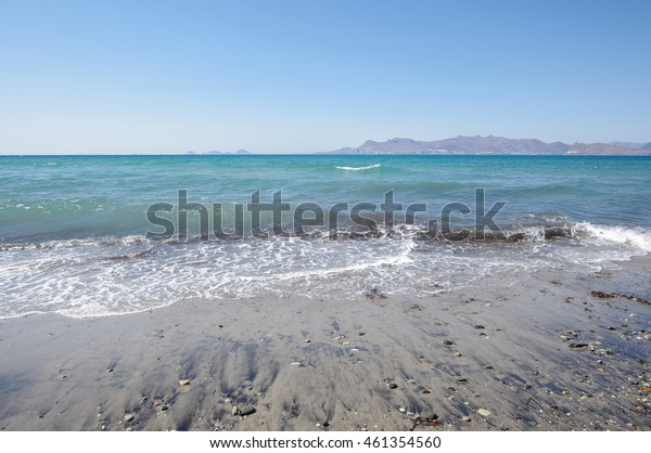 Summer beach scene in Kos island, Greece