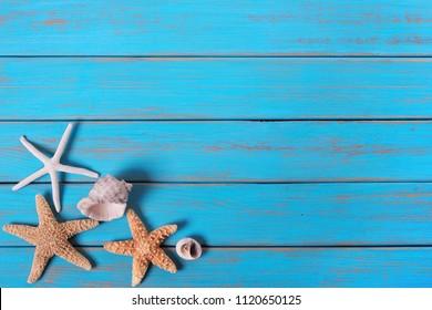 Summer beach seashore background starfish blue old wood paint peeling