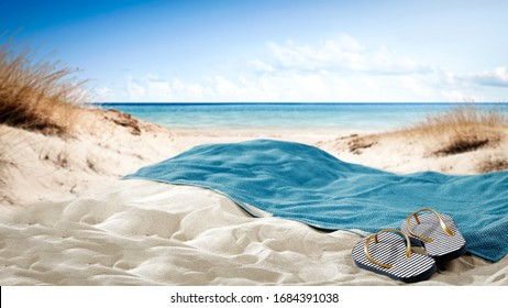 Summer beach and towel of free space