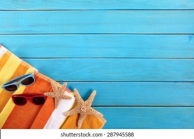 Summer beach vacation, couple sunbathing background, sunglasses, copy space