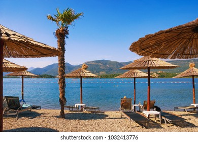 Summer  beach vacation. Montenegro, view of Bay of Kotor (Adriatic Sea) near Lustica peninsula