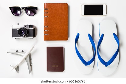 Summer Beach Vacation travel equipment on white background