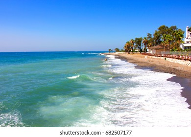 Summer beach view. Puerto Banus city, Marbella, Andalusia, Spain.