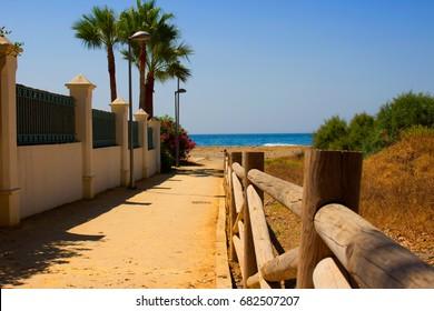 Summer beach view. Puerto Banus city, Marbella, Andalusia, Spain.