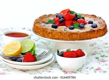 Summer berry fruit cake, festive tea party selective focus