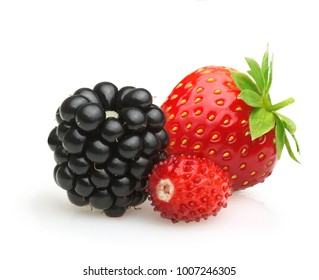 Summer berry fruits. Berries. Raspberry, Strawberry and Blackberry Isolated on White Background