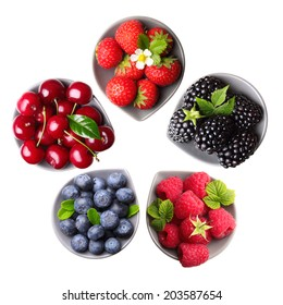 Summer berry fruits. Raspberry, Strawberry, Blueberry, Blackberry Isolated on White Background