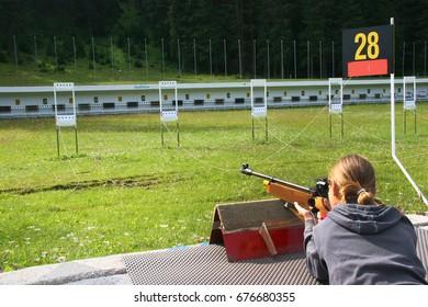 summer biathlon shoot training for children