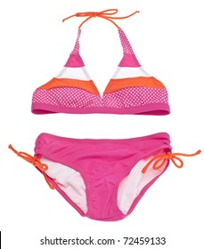 Summer Bikini Concept with Pink and Orange Bikini Isolated on White with a Clipping Path.