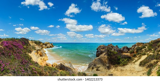 Summer blossoming Atlantic rocky coast view with purple flowers and narrow sandy beach (Albufeira outskirts, Algarve, Portugal). Multi shots high-resolution panorama.