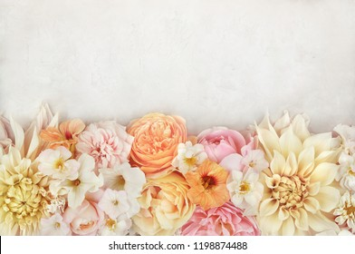 Summer blossoming delicate dahlias on blooming flowers festive background, pastel and soft bouquet floral card, selective focus